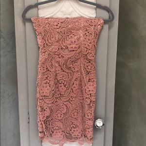 Strapless Venetian Lace Cocktail Dress